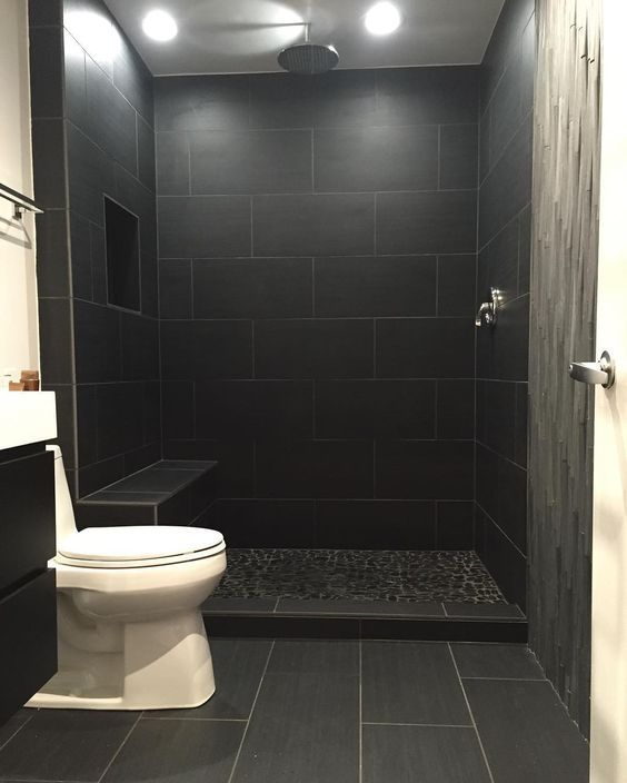 Bathroom Interiordesign Ideas: This Bathroom Came Out Really Nice But All Black Tiles