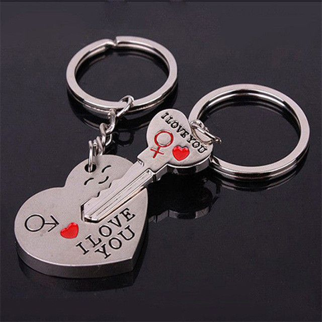 0fb99cc29d Hot Sale Zinc Alloy Silver Plated Lovers Gift Wedding Favors Couple My Heart  Keychain Fashion Keyring Key Fob Creative Key Chain