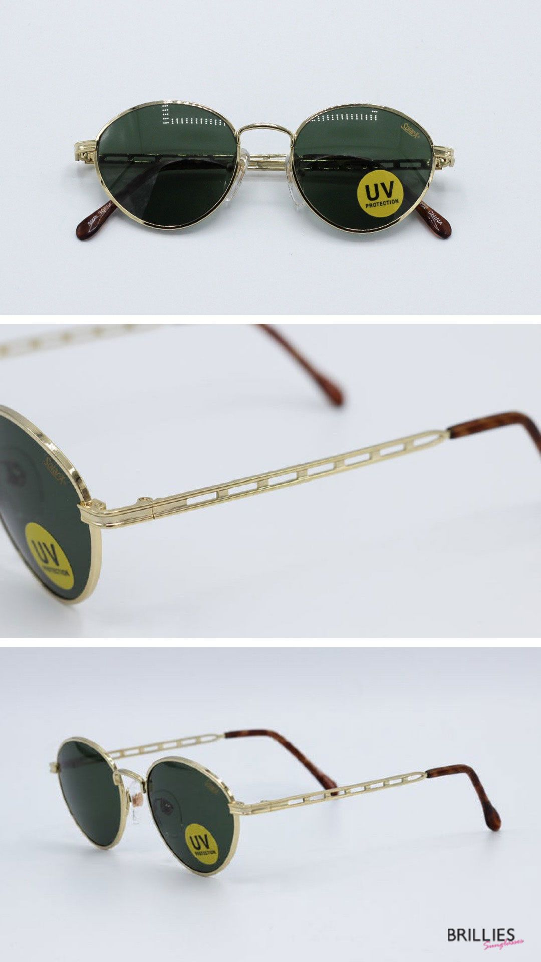 New 1980/'s Vintage  Brown Round Sunglasses Unisex Deadstock