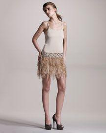 Alice + Olivia Lydia Feather-Skirt Dress
