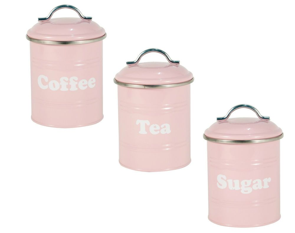 Pink Vintage Tea Coffee Sugar Canisters Storage Cans Tins Jars In Home Furniture Diy Cookware Dining Bar Food Kitchen Ebay