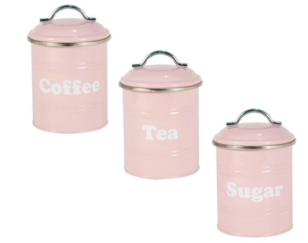 Pink Vintage Tea Coffee Sugar Canisters Storage Cans Tins Jars In Home Furniture Diy