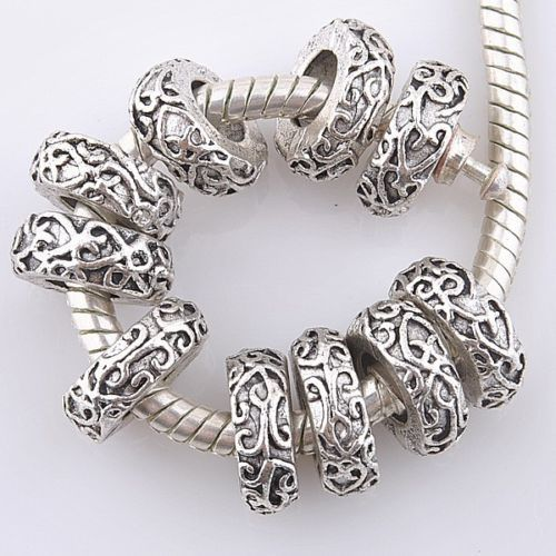 20pcs Charm Tibetan Silver Vintage Pattern Spacer Beads Fits European Bracelet | eBay