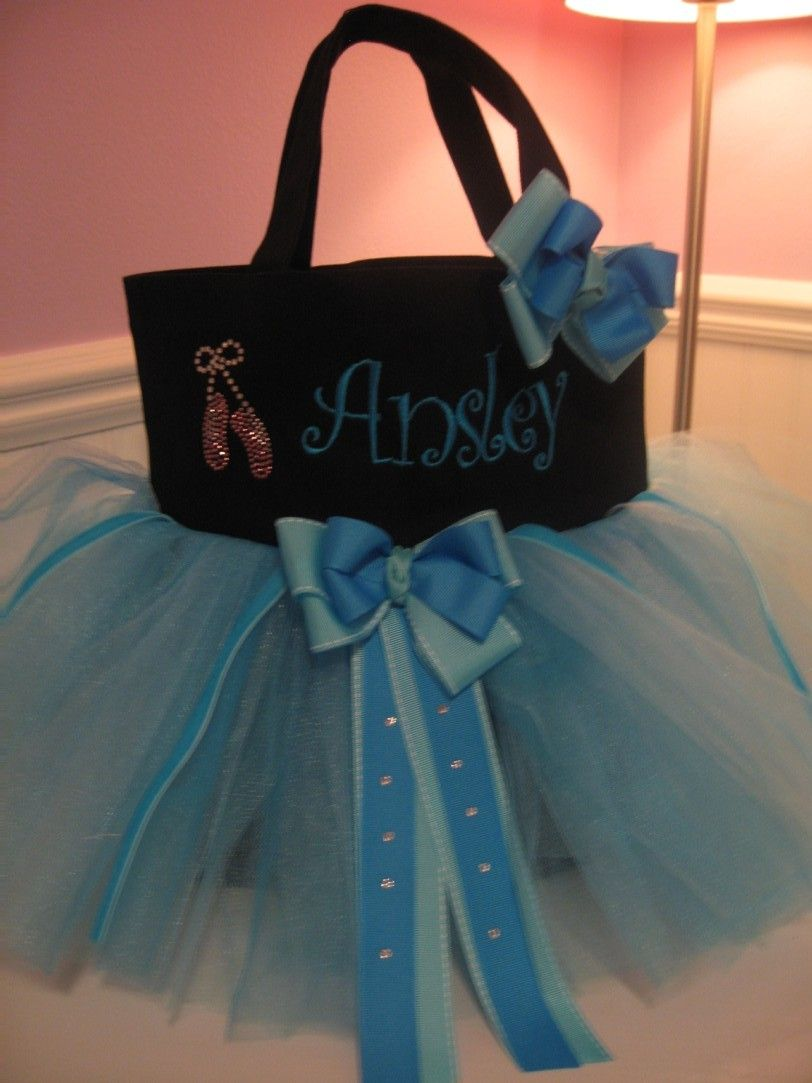 Dance Bag  Embroidered tutu bag with Rhinestone by gkatdesigns, $34.00