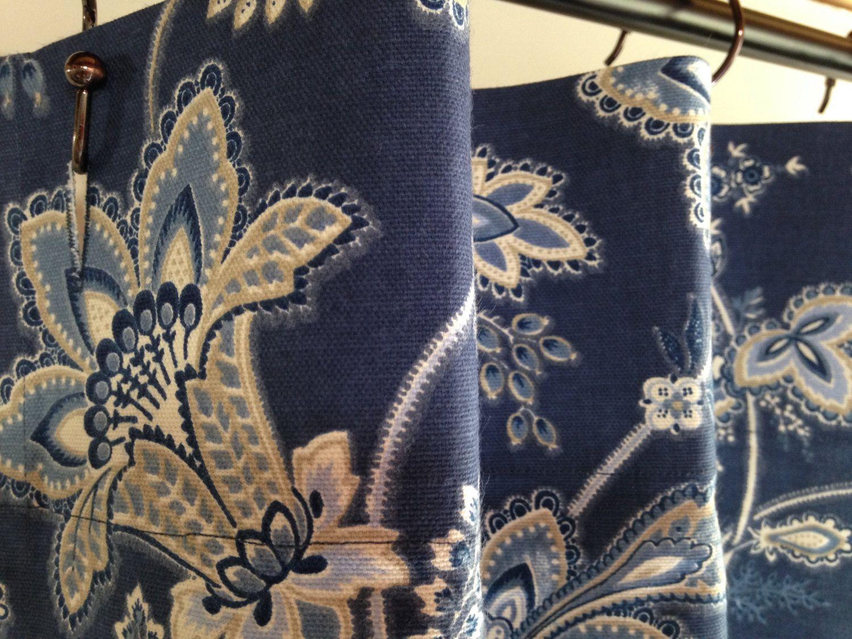 Fabric Shower Curtain Waverly Barano Indigo Blue, White, Ivory 72 ...