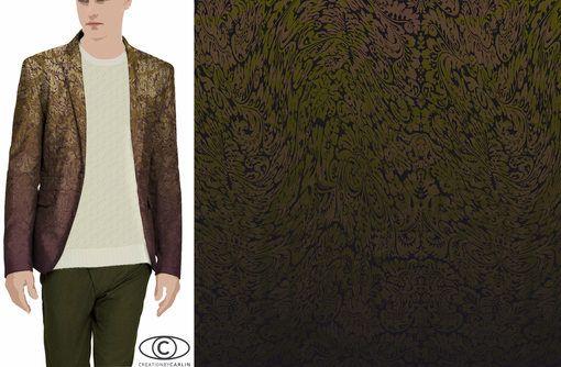 AH17 - Meta-Nature - Les graphismes jouent avec la nature et puisent leur inspiration au cœur d'une forêt imaginaire teintée de verdis et d'or pour un style très ornemental. Une ornementation innovante à travailler en dégradée pour donner du relief à un look urbain chic. - Carlin creative trend bureau: Tendance apparat - Menswear FW 2017-18 - Tendances (#659421)