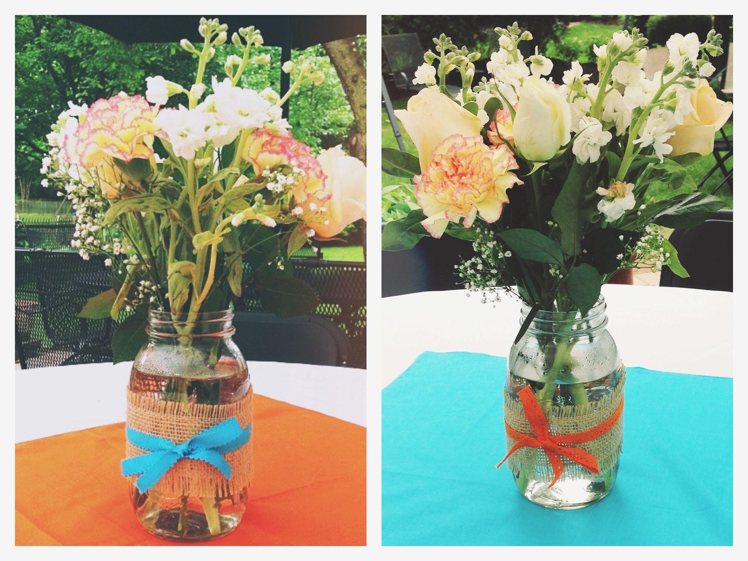 Blue and orange graduation party centerpieces mason