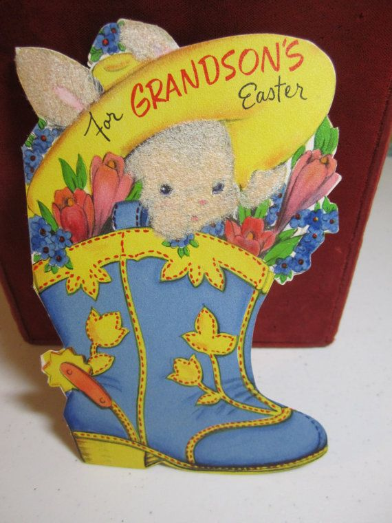 Adorable 1940's die cut flocked Stanley easter card little bunny wearing large cowboy hat  inside a cowboy boot filled with tulips
