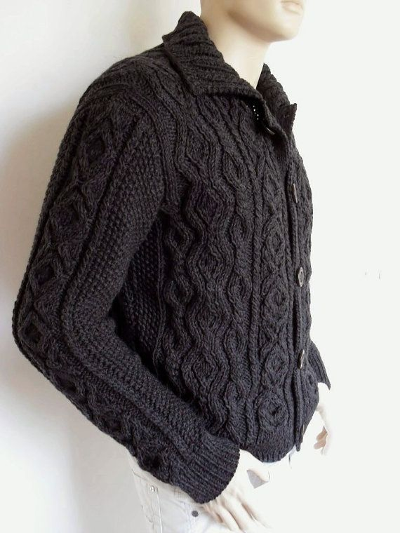 Men Sweater Hand Knit Cable Cardigan Merino wool Aran Knit Jacket ...