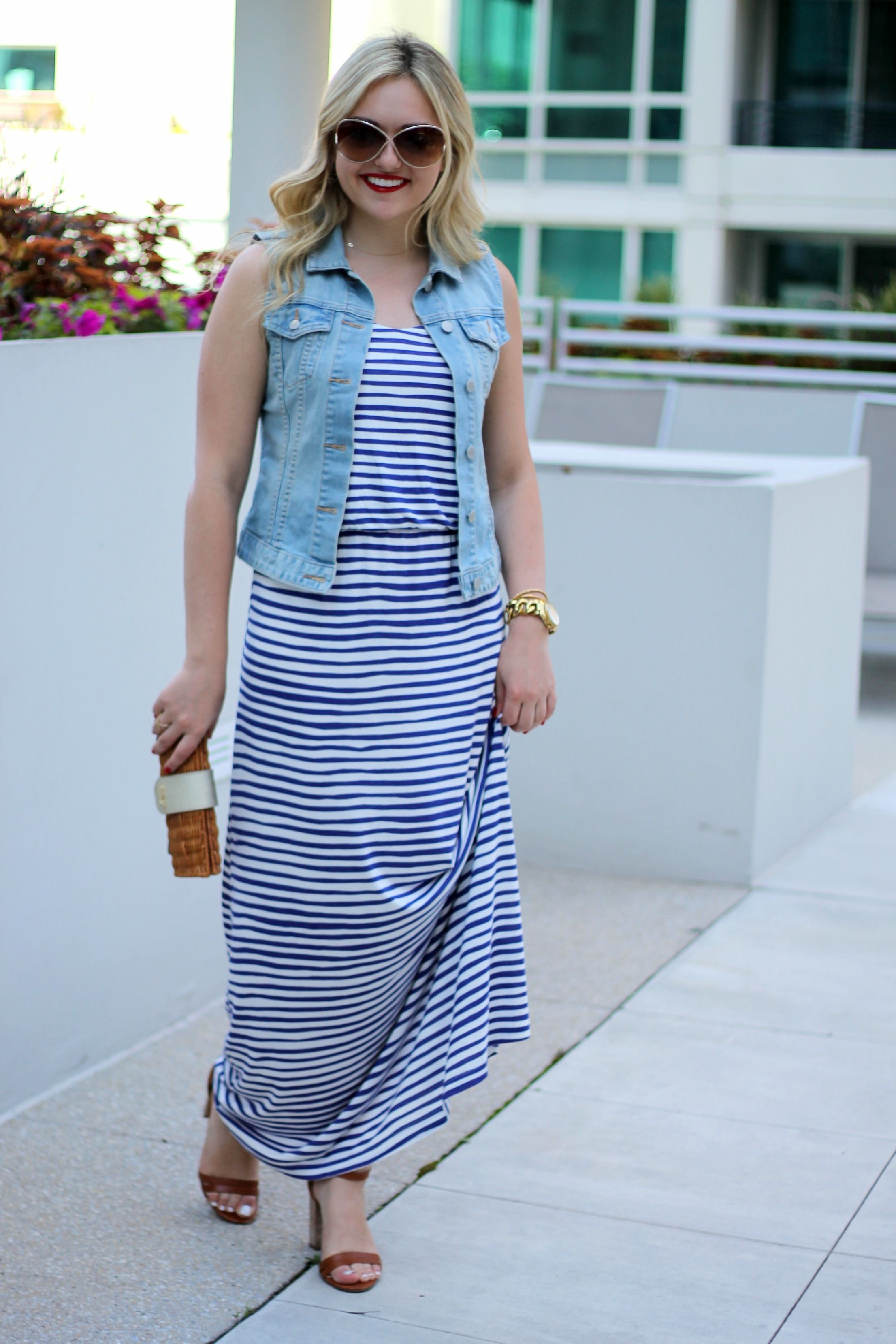 how to wear blue and white maxi striped dress - Google Search