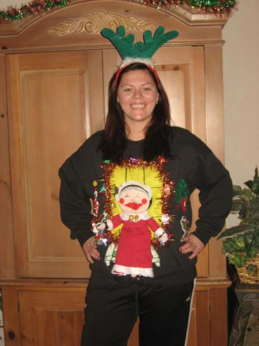 grinning granny ugly christmas sweater sweatshirtlights upgarland more unique - Unique Christmas Sweaters