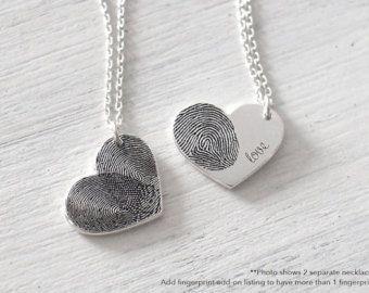 aa8c62598118 Huella digital real personalizada corazón collar - delicada huella digital  personalizada para ella - día de la madre regalos - PN04.15