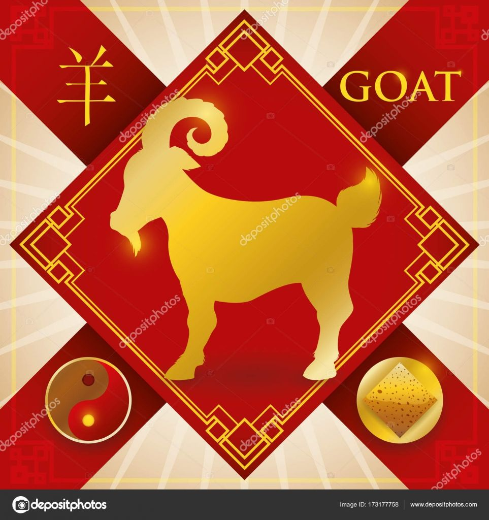 Charm with Chinese Zodiac Goat, Earth Element and Yin