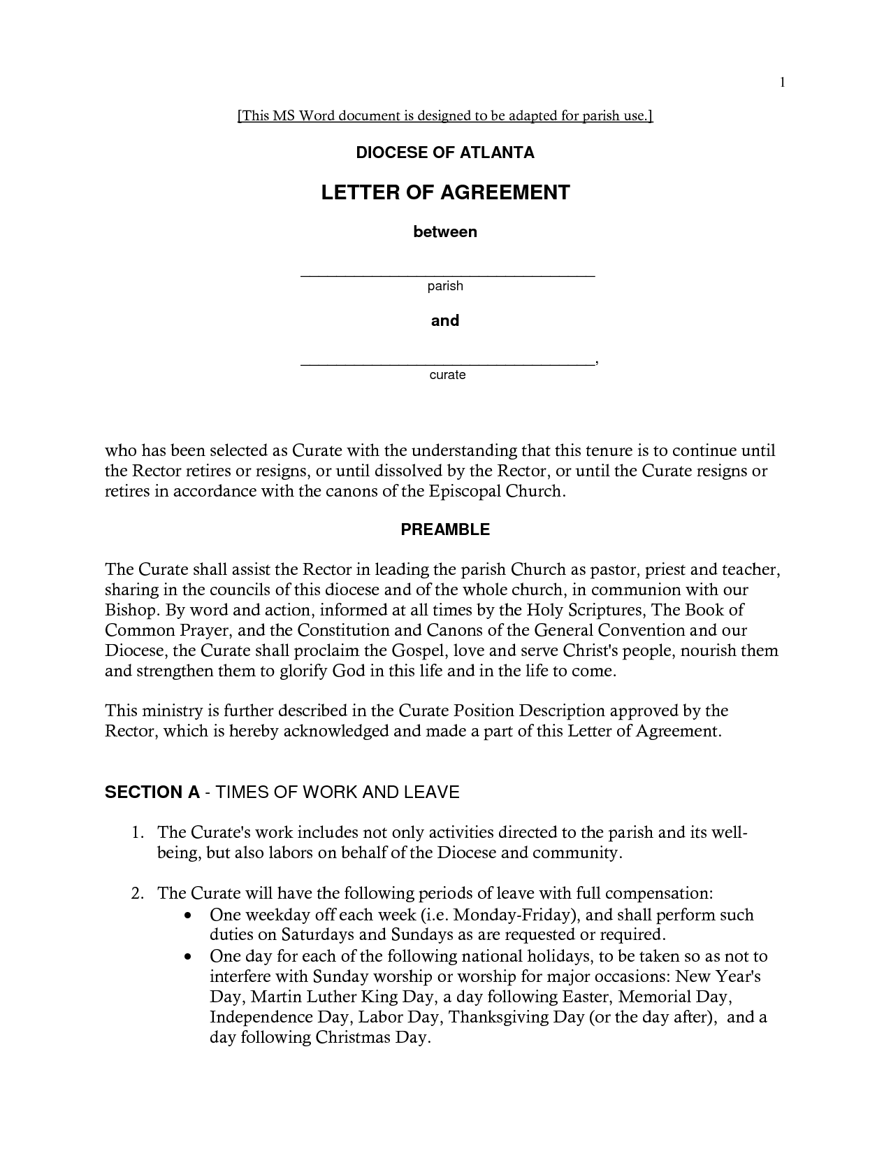 Free Printable Letter of Agreement Form (GENERIC) Letter