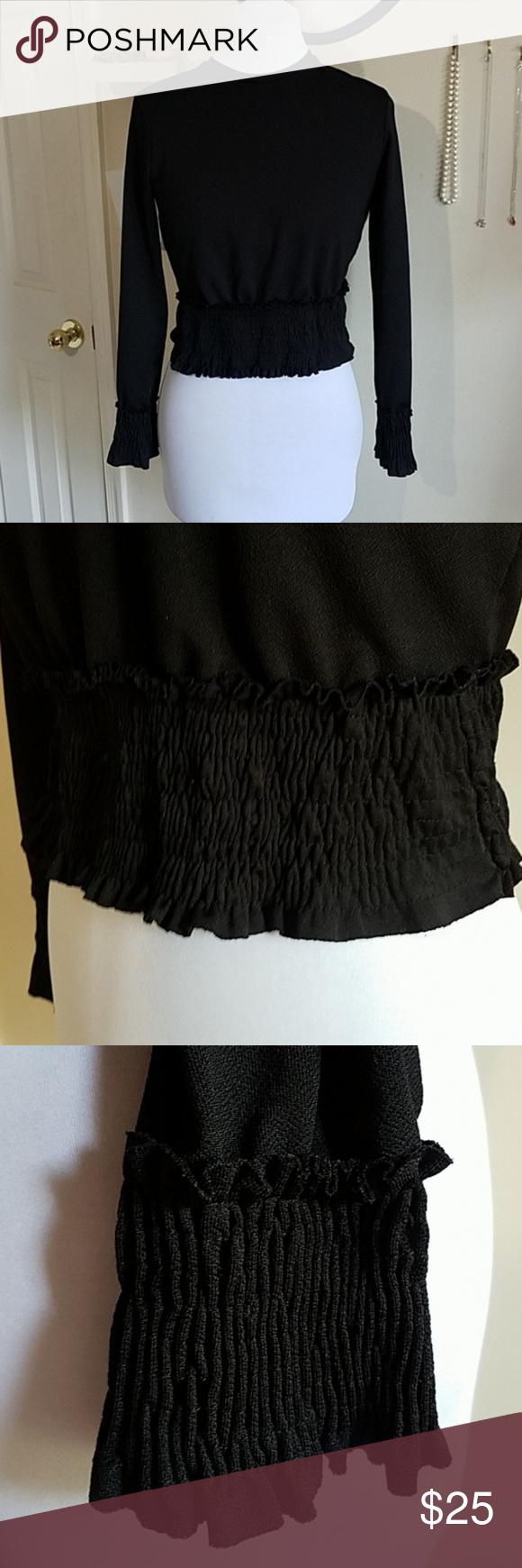 576d284d6cd9ca Zara Collection Black Long Sleeve Crop Top