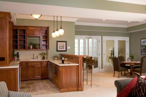 What Is The Wall Color Used Here Houzz Green Kitchen Walls Family Room Design Mediterranean Style Kitchens