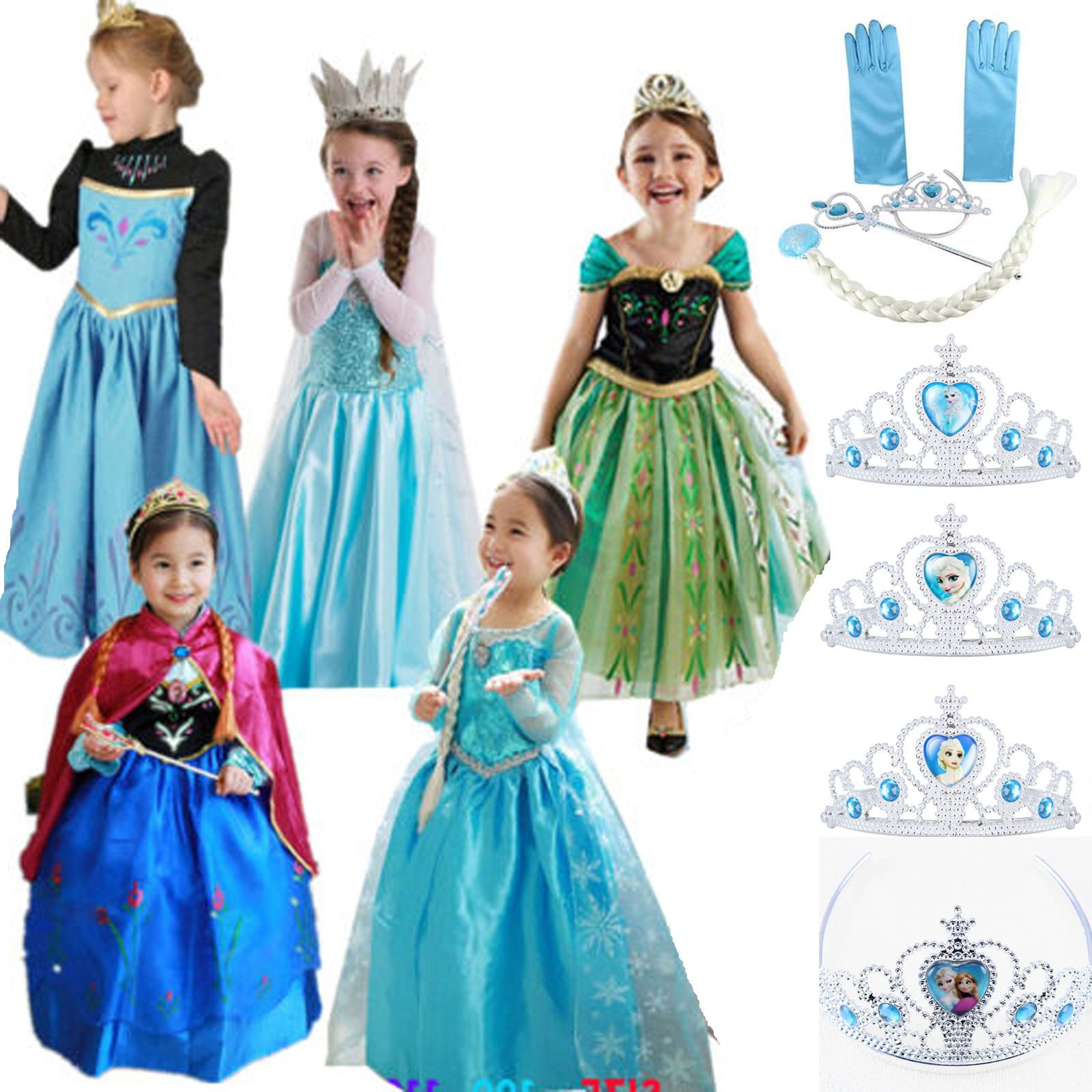 Cool Awesome Girl Kid Dress Princess Anna Elsa Frozen Costume Party ...
