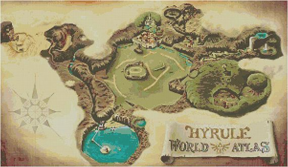 Zelda Ocarina Of Time Cross Stitch Pattern World Map Ocarina Of