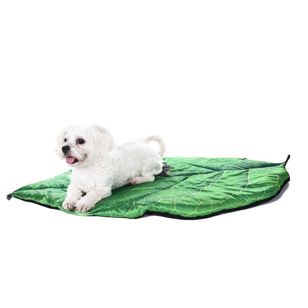 Yunt New Pet Bed Mat Leaf Shaped Pet Summer Cooling Mat Green