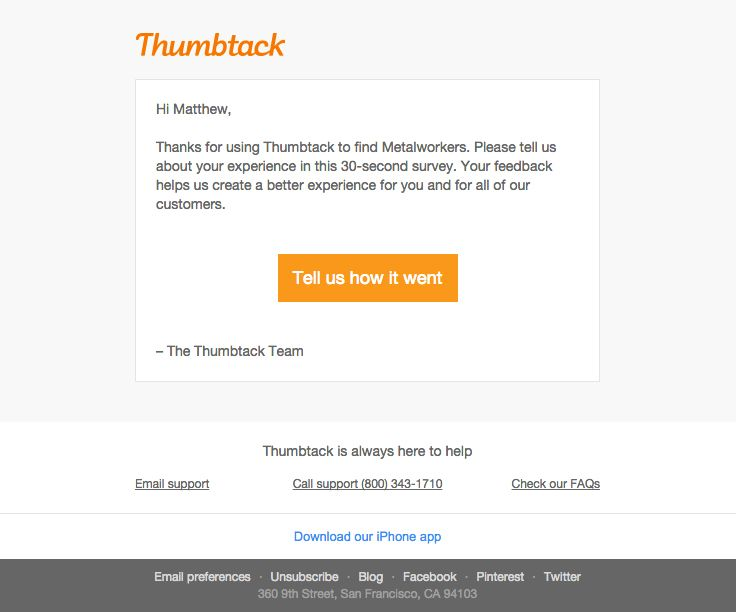 Thumbtack Sent This Email With The Subject Line Tell Us What You