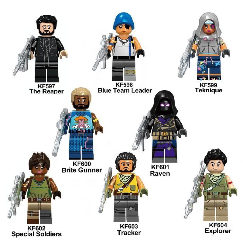 8pcs custom fortnight battle royal game fortnite minifigures mini fit lego 2018 - miniature fortnite nouvelle arme