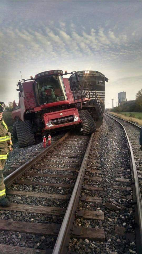 Tractor Pulling Train : Case combine crashes into train john deere misc tractors