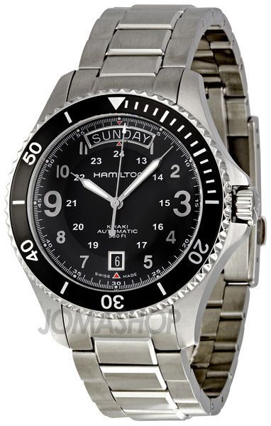 Hamilton khaki king scuba black dial gmt automatic mens for Hamilton dive watch