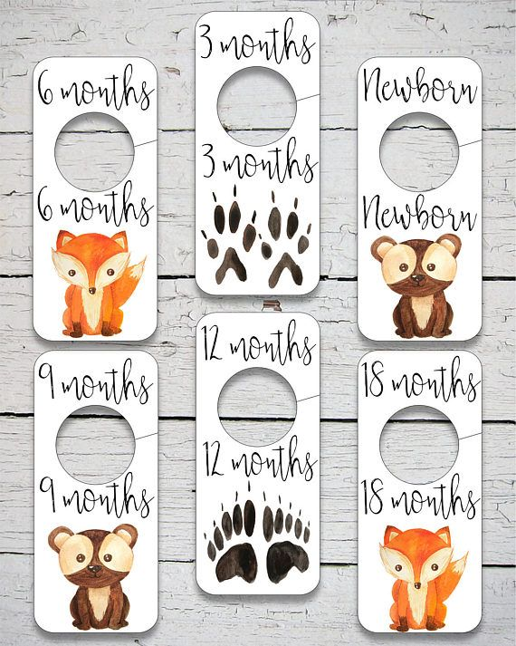 marvelous Printable Baby Closet Dividers Part - 12: Printable Nursery Closet Divider, Woodland Animals Closet Dividers,  Woodland Animals nursery decor, Digital Print