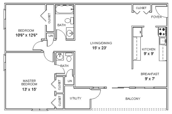 Two bedroom floor plan apartment for Simple two bedroom apartment design