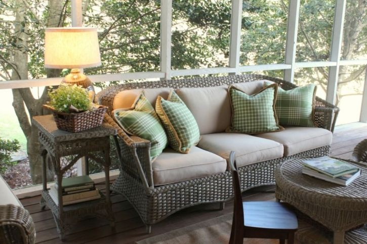 Sofa On Porch With Green Pillows Outdoor Furniture Sets