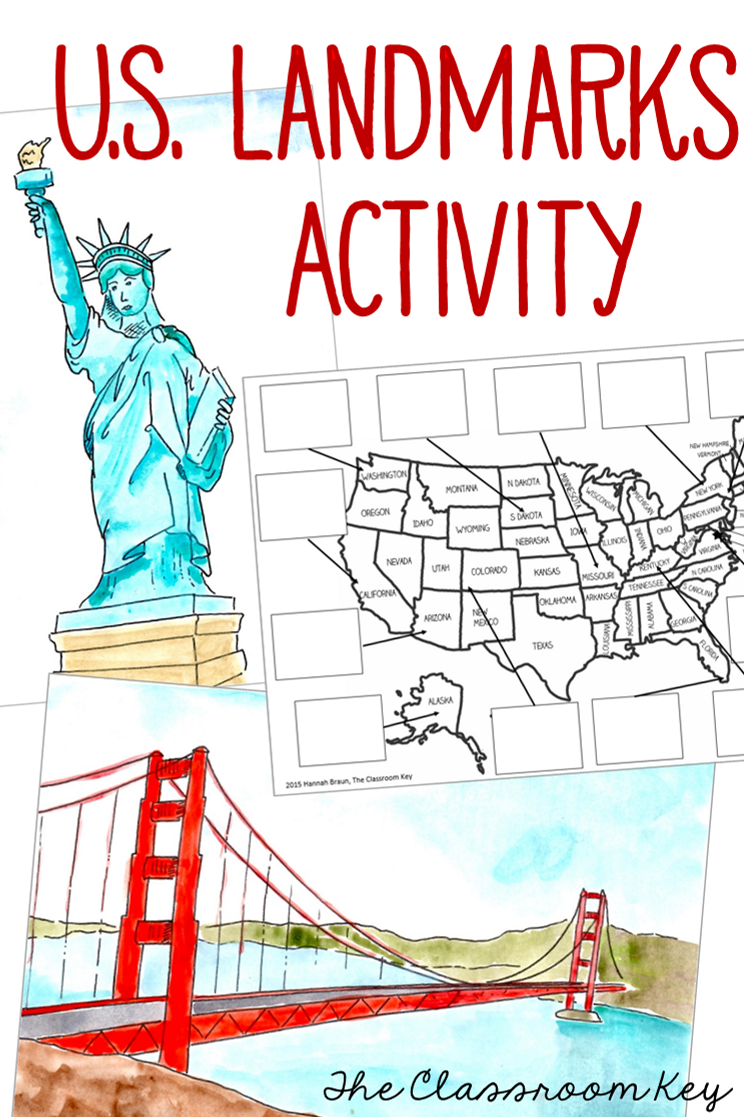 United States US Landmarks Lesson and Activity Third