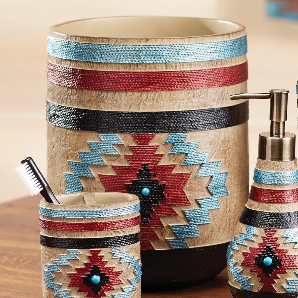 Native American Design Waste Basket Southwestern Bath Decor
