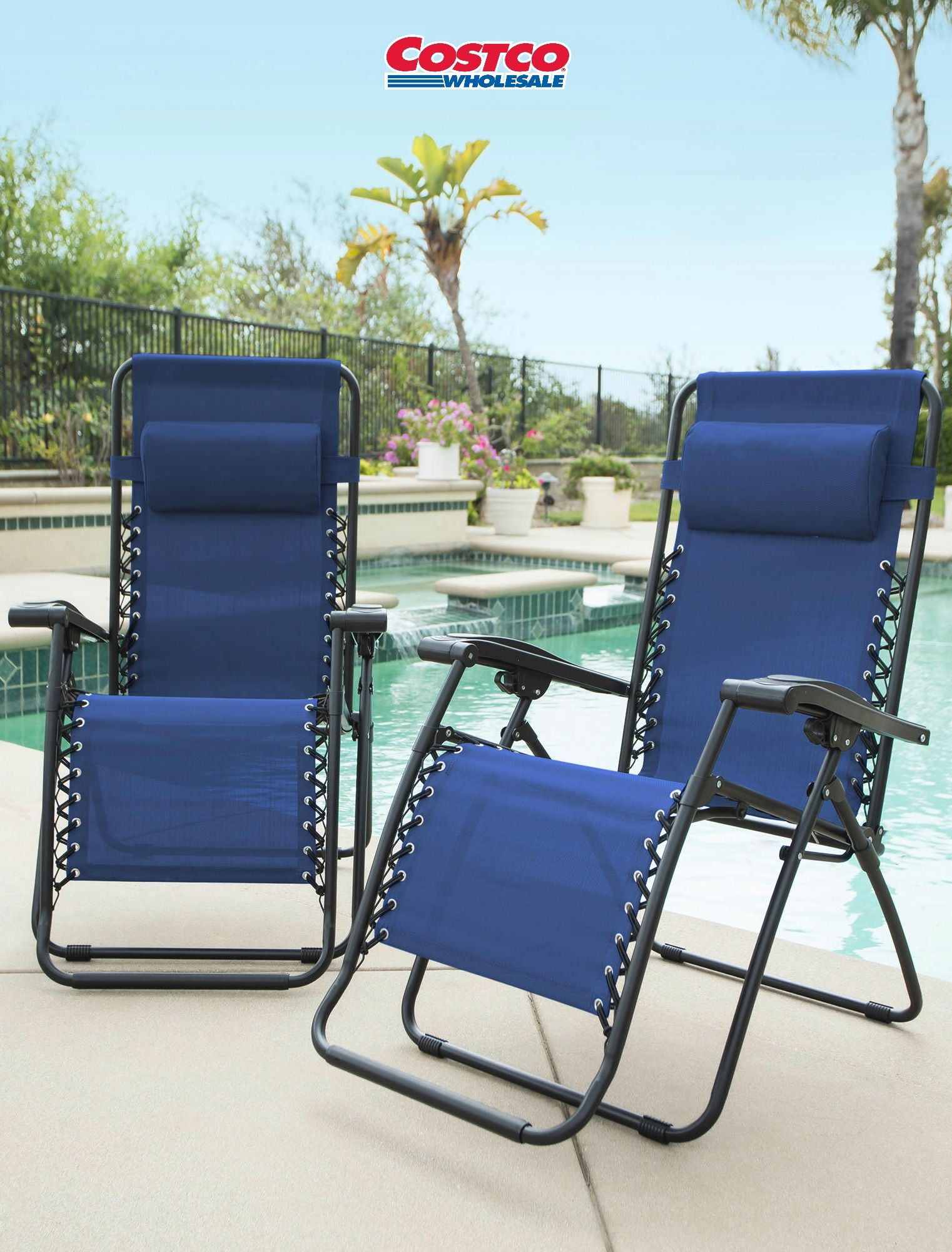 Zero Gravity Reclining Outdoor Lounge Chair 2 Pack Lounge Chair