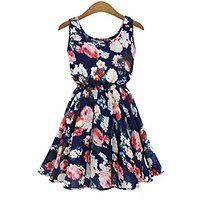 Bluetime Summer Womens Casual Chiffon Sleeveless Fashion Flower Beach Dress