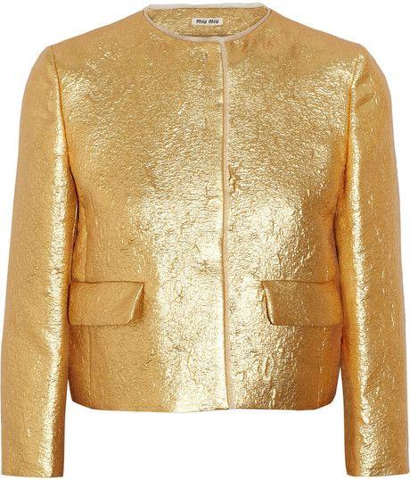 7ff50fc8d973 Women's Metallic Organza-Trimmed Lamã© Jacket | Dorado | Jackets ...