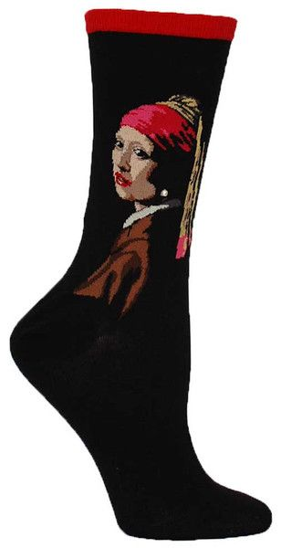Crew length socks featuring A Girl With a Pearl Earring {with an actual pearl bead!} by Johannes Vermeer.