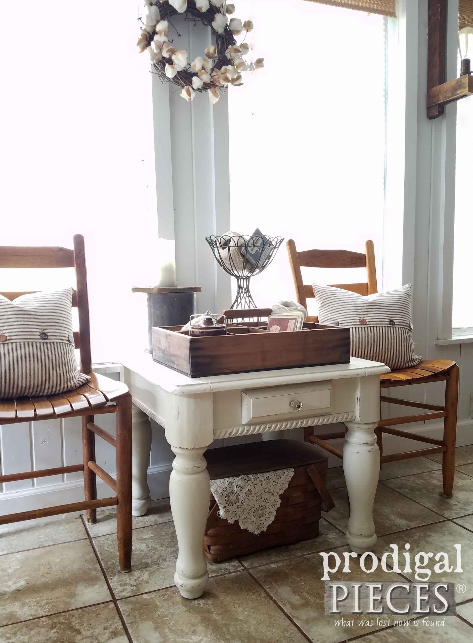Beautiful Farmhouse Side Table ~ How To Update Your Look. Farmhouse Vignette With  Ladder Back Chairs ...