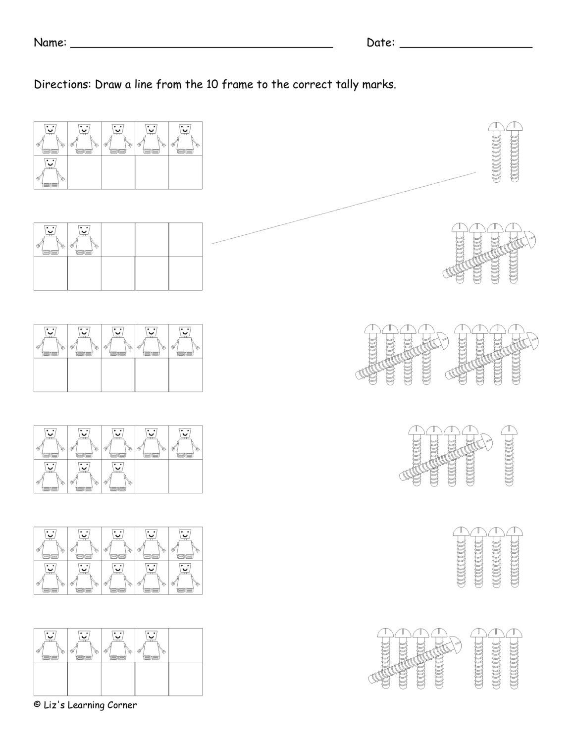 10 Frame To Tally Mark Worksheet Via Etsy
