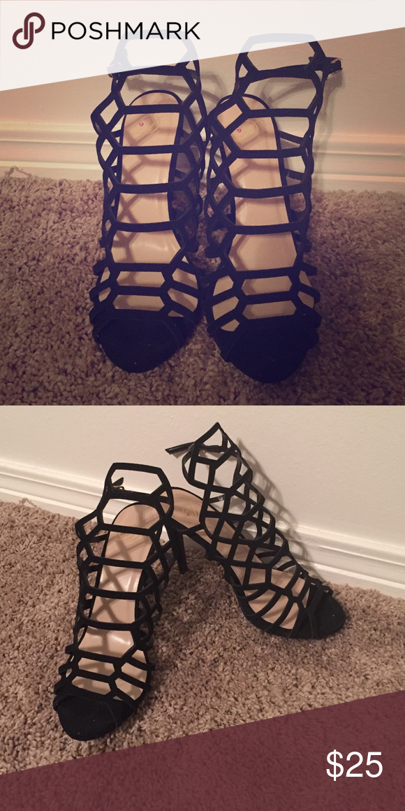 Heart in D strappy black heels Worn once! Great condition. Size 9. 4 inch heel. Shoes Heels