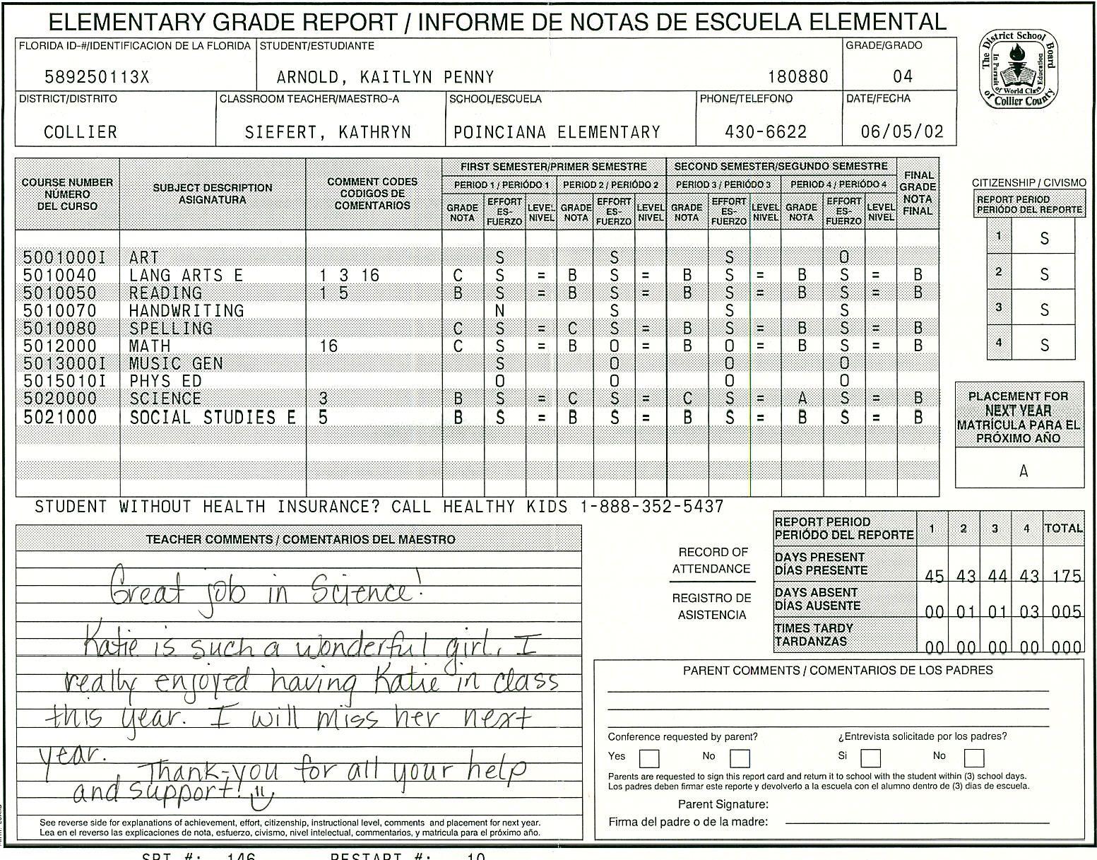Elementary School Report Card Template