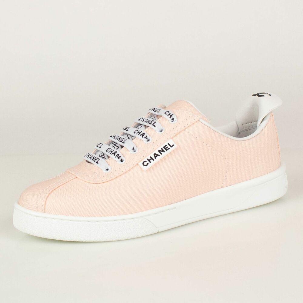 NIB CHANEL Light Pink 'CHANEL' Lace Up