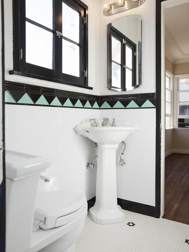 25 amazing room makeovers from hgtvs house hunters renovation bathroom blackwhite tilesgreen tilesart deco stylebathroom ideasart