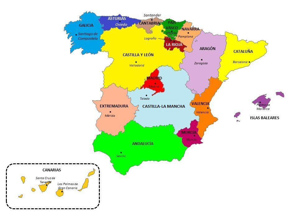 Portales De Educación De Las Diferentes Comunidades Autónomas España Pincha En Visitar Comunidades Autonomas De Espana Mapa De España Comunidades Autonomas