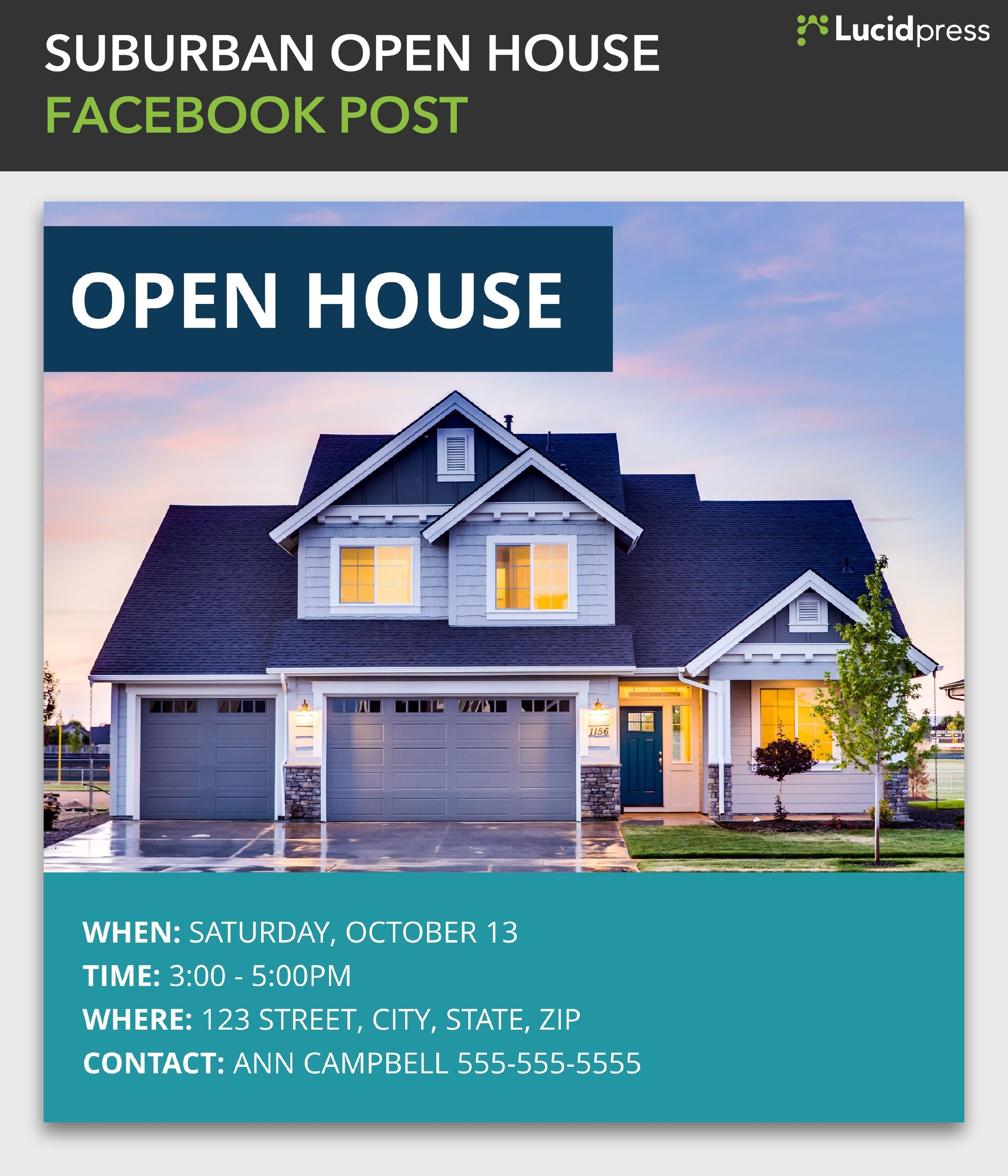Suburban Open House Facebook Post Template Real Estate Advertising Real Estate Real Estate Templates