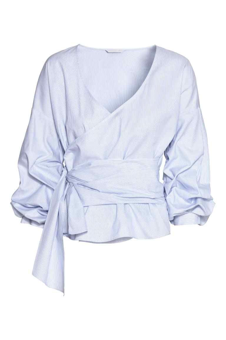 b786b30468a550 Wrapover cotton blouse - White Blue striped - Ladies