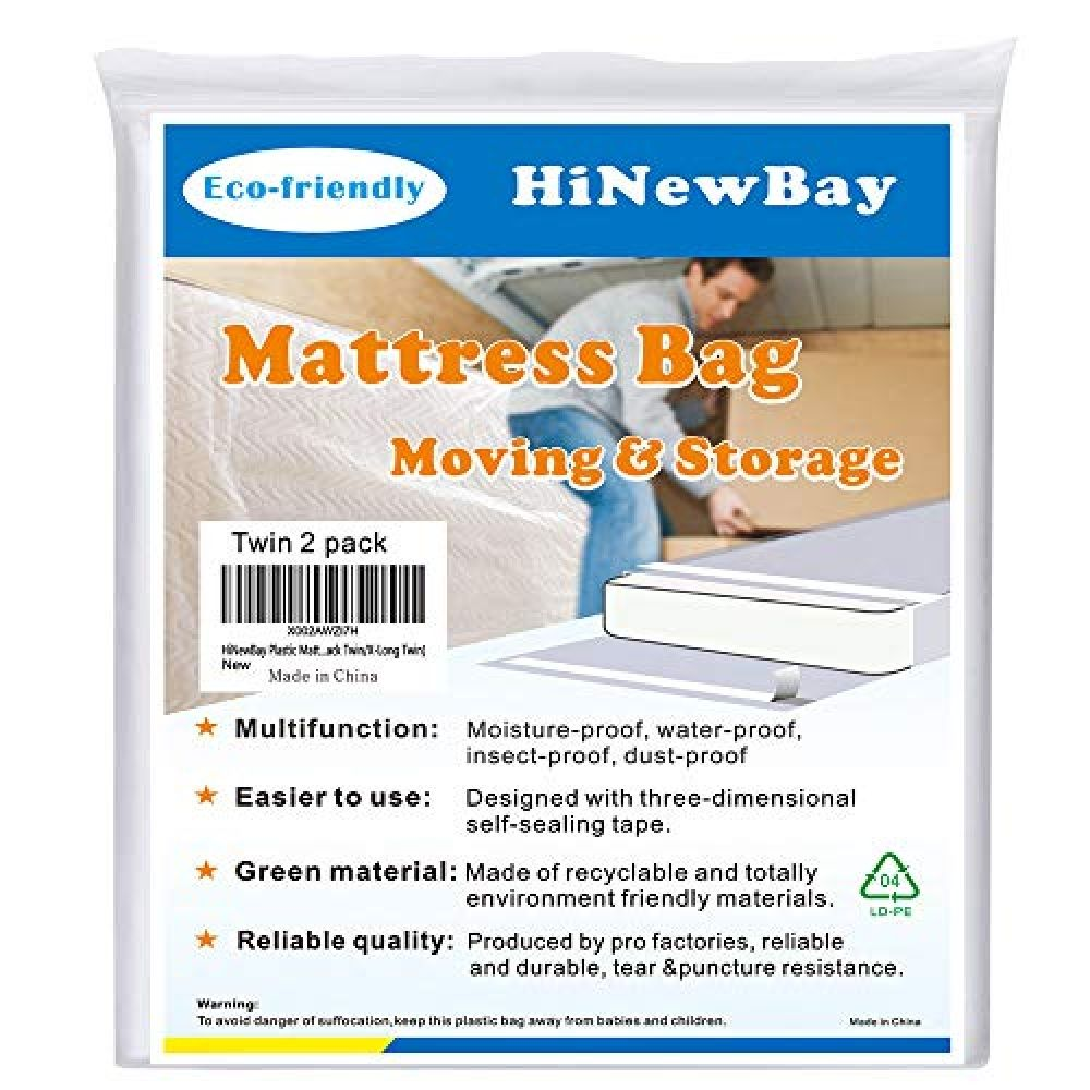 Hinewbay Plastic Mattress Bags For Moving Waterproof Mattress Protector Heavy Duty Mattress Bag Puncture Resistant Bag With Two Extra Wide Adhesive Strips Ma In 2020 Waterproof Mattress Mattress Protector Sealing Tape