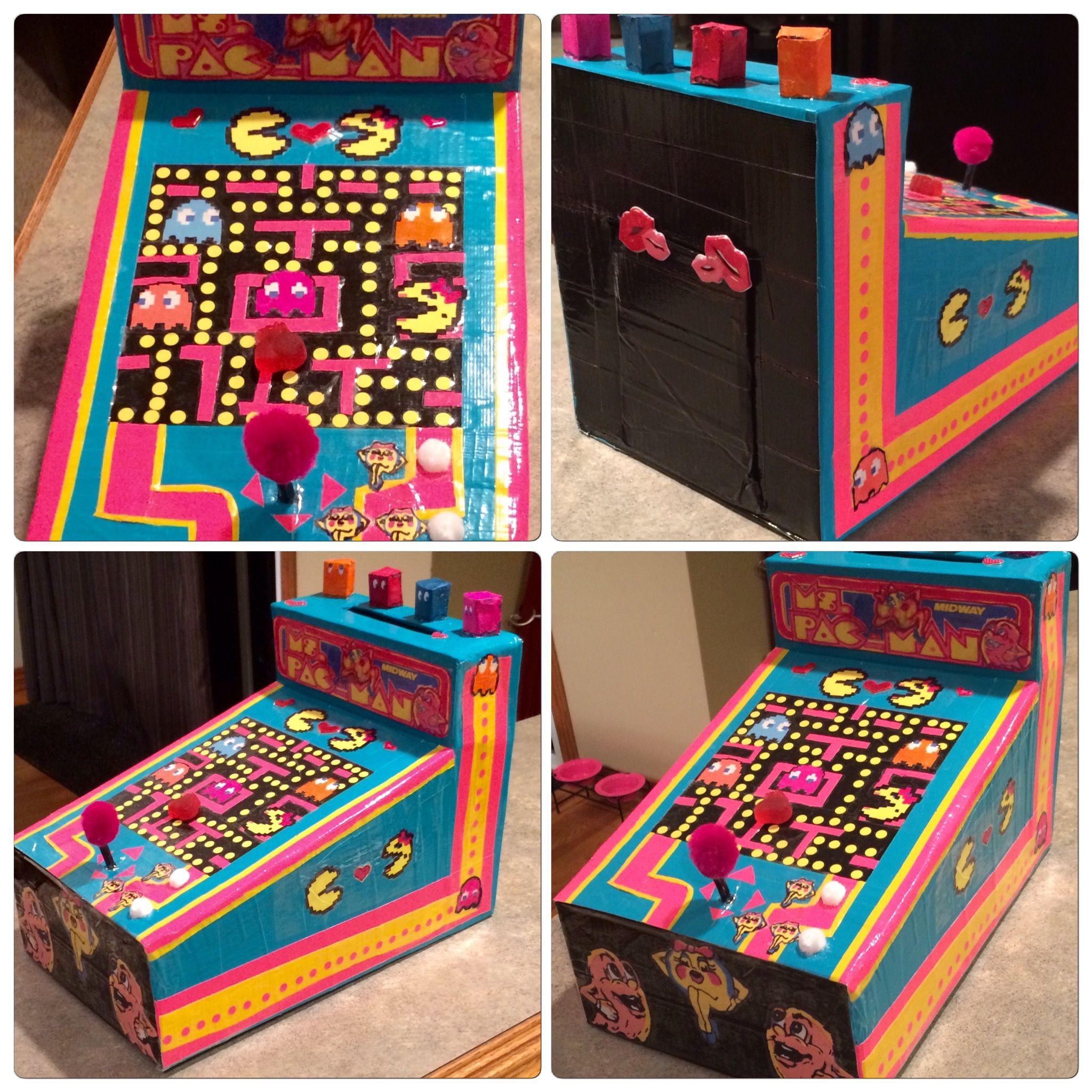 Mrs Pac Man Arcade Valentine Box We Made It With Lots Of Colored Interesting Pac Man Recycling Bins And Re