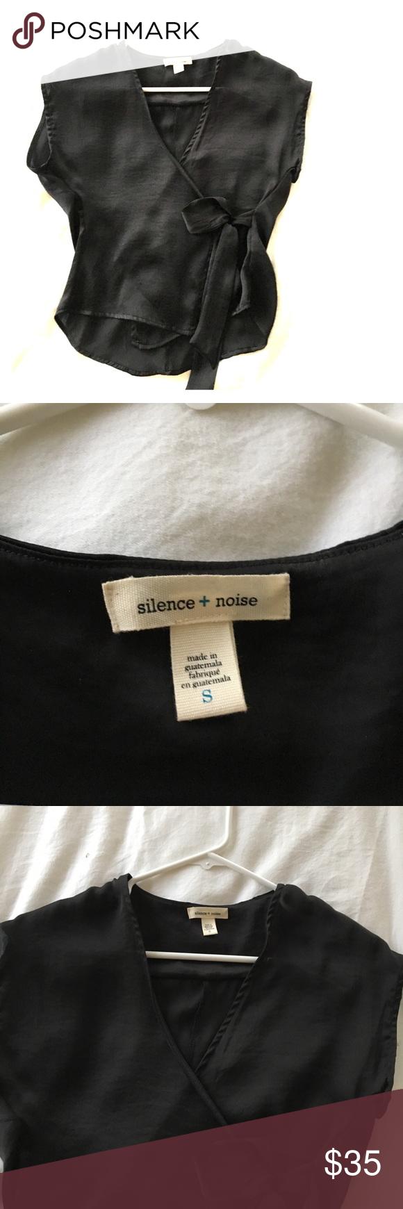 b75228c0395bd Silence and noise silk wrap blouse Urban outfitters silence and noise black  silk sleek wrap top