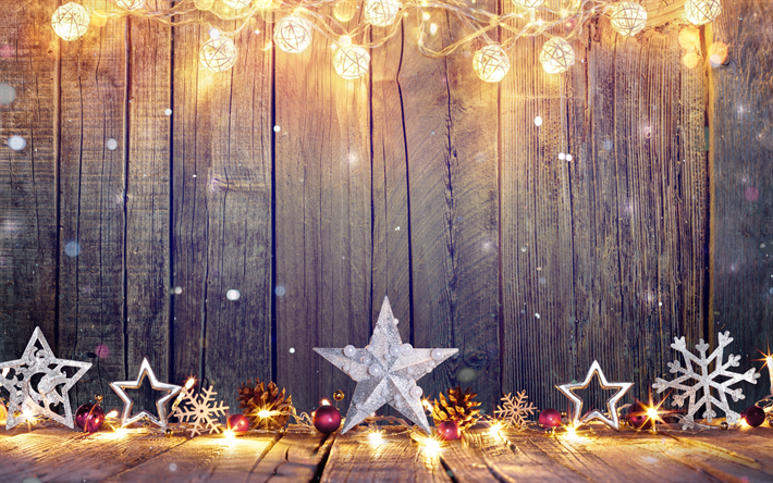 Download Wallpapers 4k Christmas Decorations Stars Happy