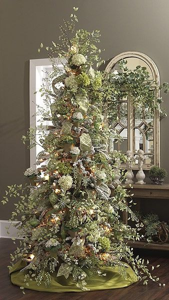 Green And Silver Christmas Tree Creative Christmas Trees Floral Christmas Tree Christmas Tree Decorations